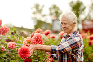 senior woman learning about the gardening at Maryland Residential Senior Living Options