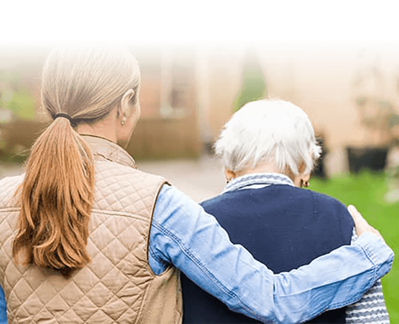 mother and daughter at assisted living facility