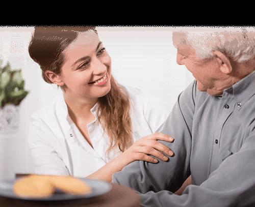 man in respite care receiving help